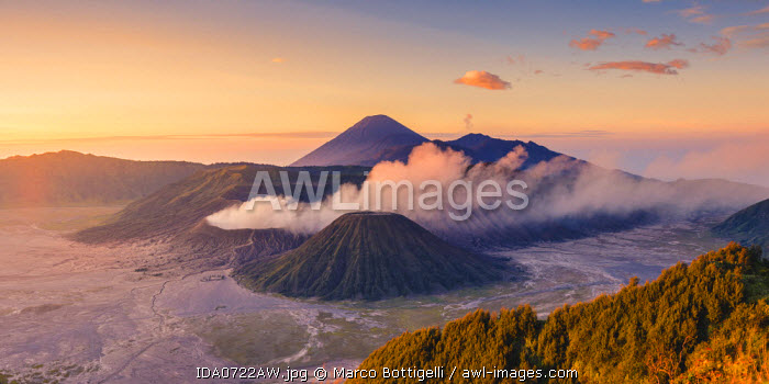 Java, Indonesia, South East Asia. High angle view of Mount Bromo at sunrise.