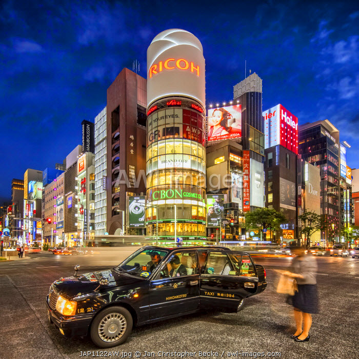 Crossing street at night, Ginza, Tokyo, Japan