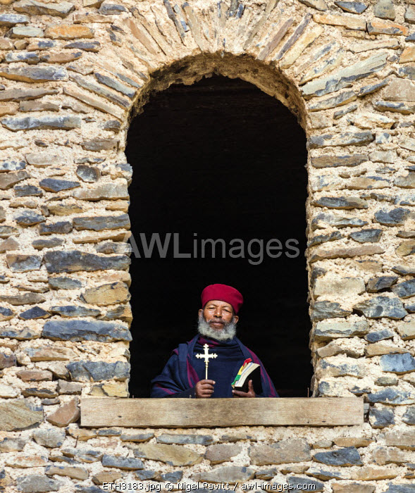 Ethiopia, Amhara Region, Qusquam.  An Ethiopian Orthodox monk at Qusquam church.