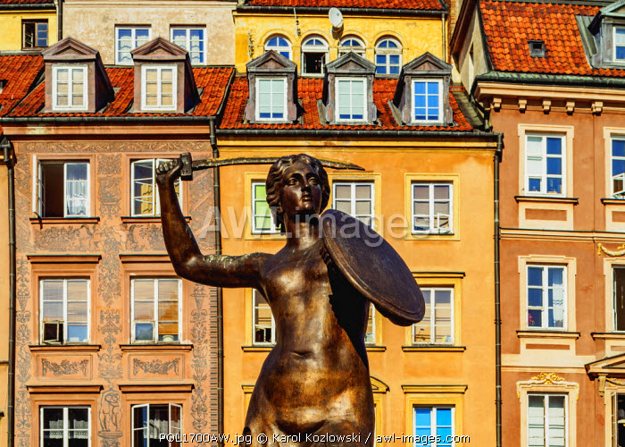awl-images.com - Poland / Poland, Masovian Voivodeship, Warsaw, Old Town Market Place, The Warsaw Mermaid