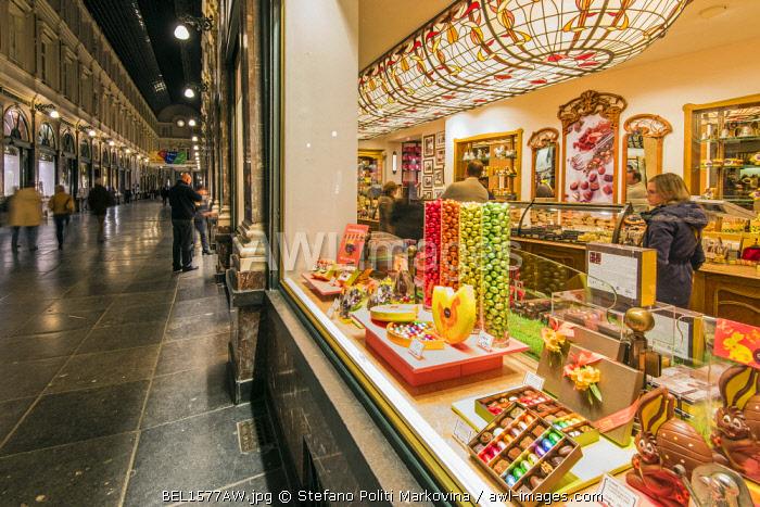 Chocolate shop at Galeries St-Hubert, Brussels, Belgium