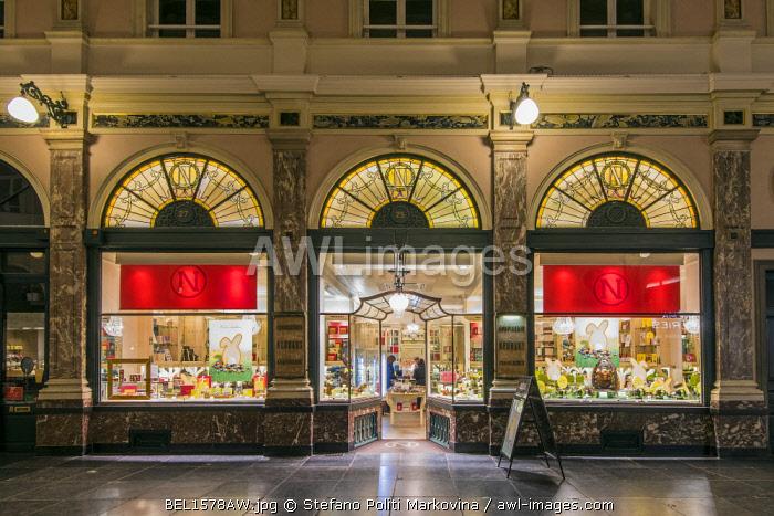 The historical Neuhaus chocolate shop at Galeries St-Hubert, Brussels, Belgium