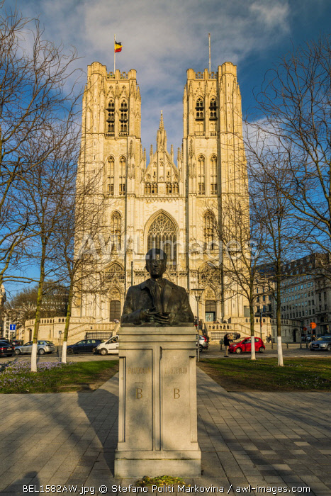 Statue of King Baudouin of Belgium and Cathedral of St. Michael and St. Gudula, Brussels, Belgium