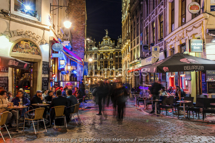 Night street scene in Brussels, Belgium