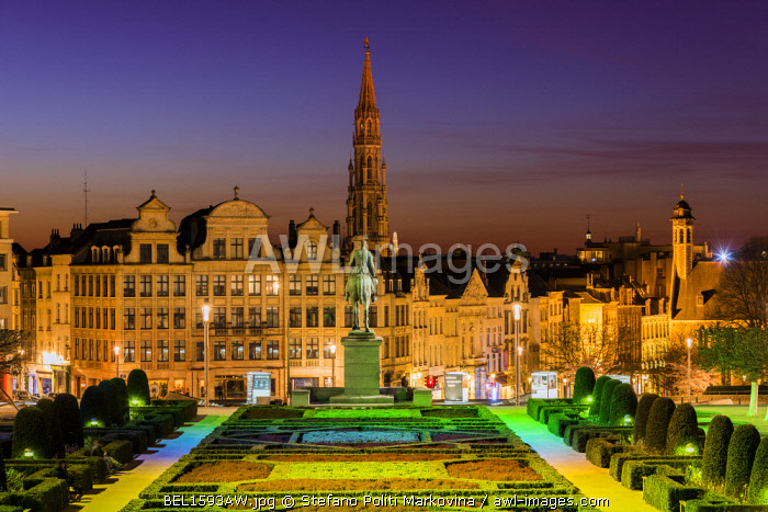City center skyline from Mont Des Arts, Brussels, Belgium