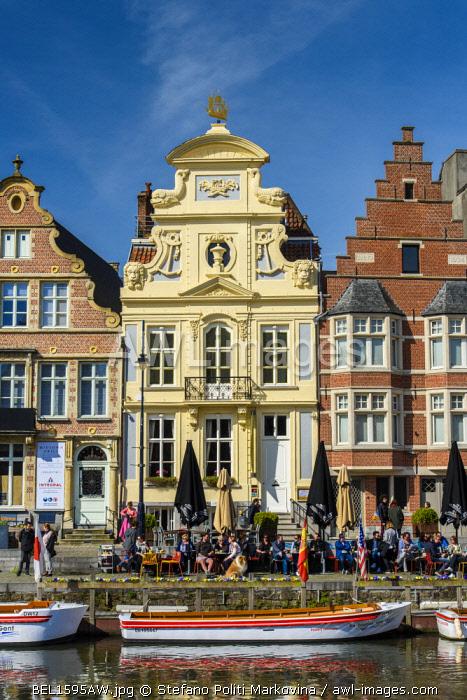 Outdoor cafe along Leie river, Ghent, East Flanders, Belgium