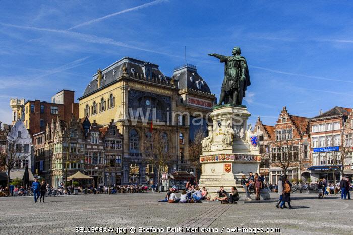 Vrijdagmarkt square, Ghent, East Flanders, Belgium