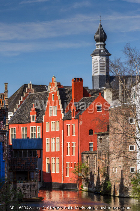 Water canal in Ghent, East Flanders, Belgium