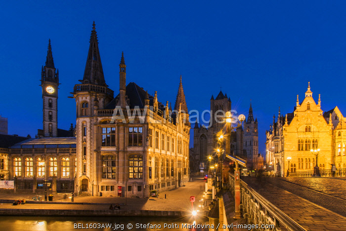 Night view of Ghent, East Flanders, Belgium