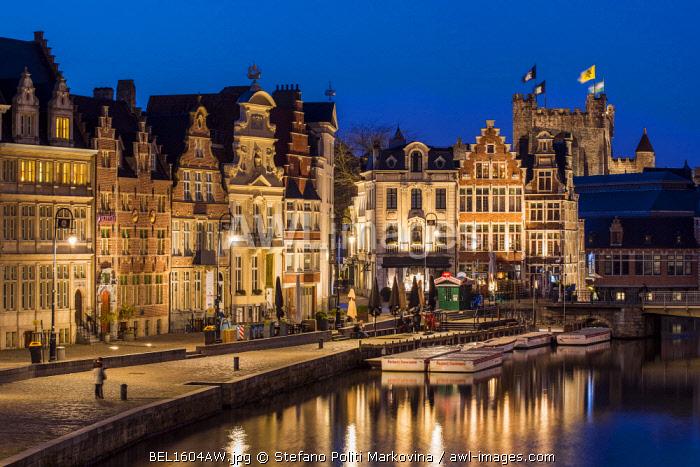 Night view of guild houses along Korenlei quay, Ghent, East Flanders, Belgium