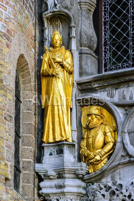 Detail of the facade of Holy Blood Basilica (Heilig Bloedbasiliek), Burg, Bruges, West Flanders, Belgium