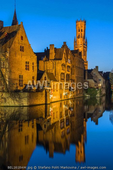 Dijver canal with Belfort medieval tower in the background, Bruges, West Flanders, Belgium