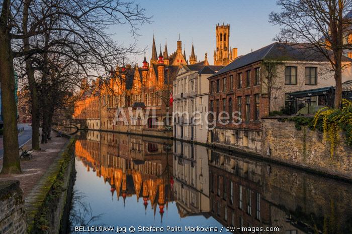 Sunrise view over Dijver canal, Bruges, West Flanders, Belgium