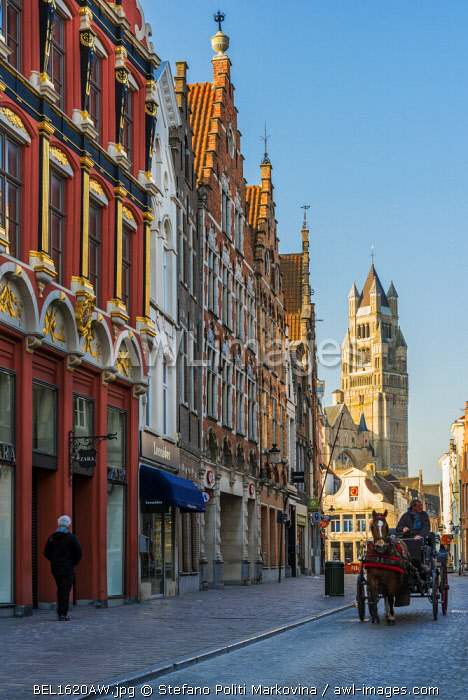 Cobbled street and horse carriage, Bruges, West Flanders, Belgium