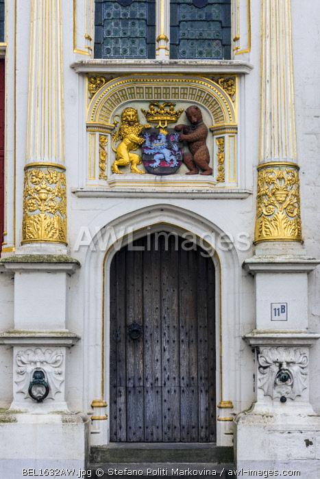 Detail of Brugse Vrije building, Burg, Bruges, West Flanders, Belgium