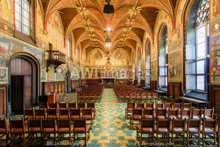 Gotische Zaal or Gothic Hall located inside the Stadhuis or City Hall building, Bruges, West Flanders, Belgium