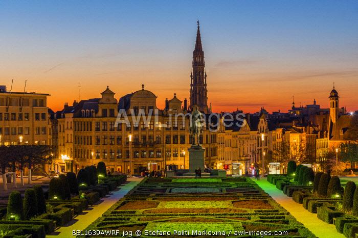City center skyline from Mont Des Arts, Brussels, Belgium