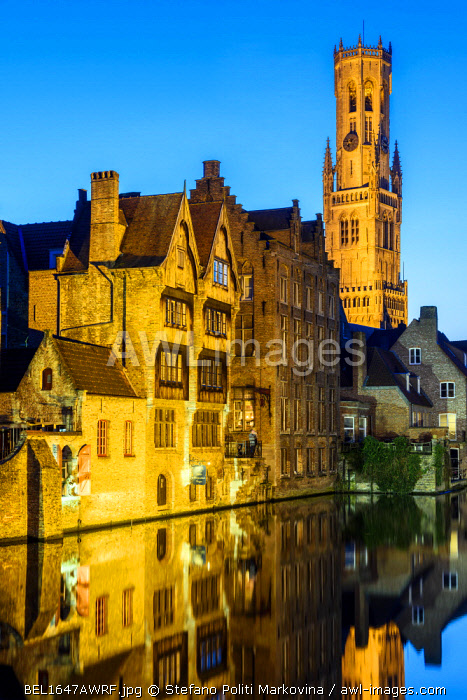 Dijver canal with Belfort medieval tower in the background, Bruges, West Flanders, Belgium