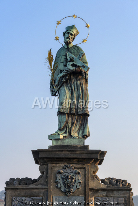 Europe, Czech Republic, Prague, Charles Bridge, Statue of John of Nepomuk