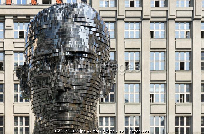 Europe, Czech Republic, Prague, Franz Kafka Head, David Cerny, Art, Sculpture, Stainless Steel, Kinetic, Building, Modern Art,