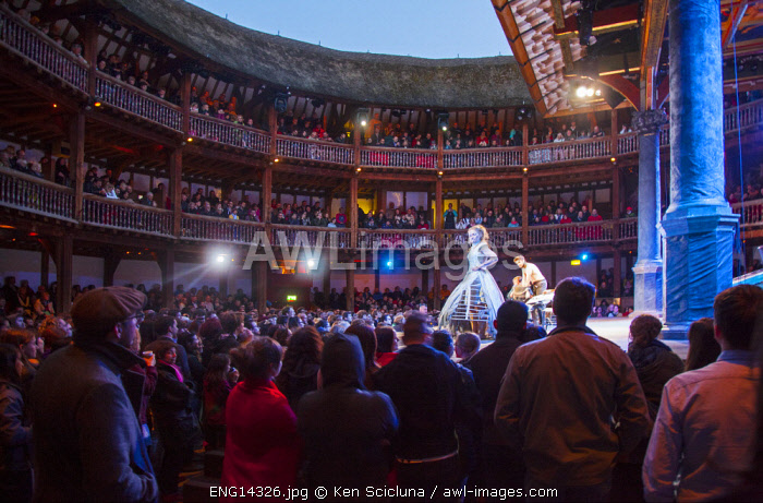 United Kingdom. England. London. An open air Shakespearean play at the Globe Theatre.