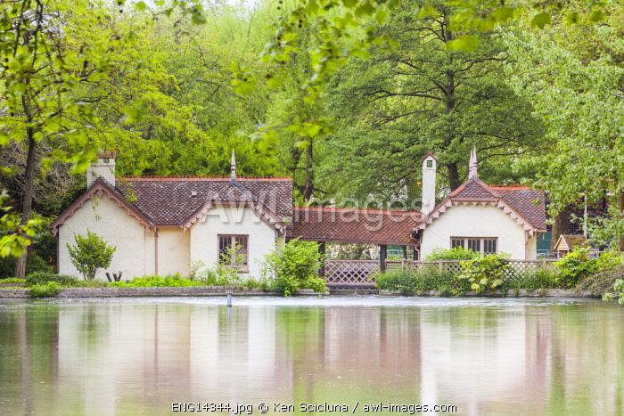United Kingdom. England. London. Small house at St James Park across the lake.