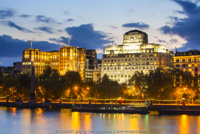 United Kingdom. England. London. Victoria Embarkment Gardens and the Savoy Hotel over the River Thames at the Victoria Embarkement.