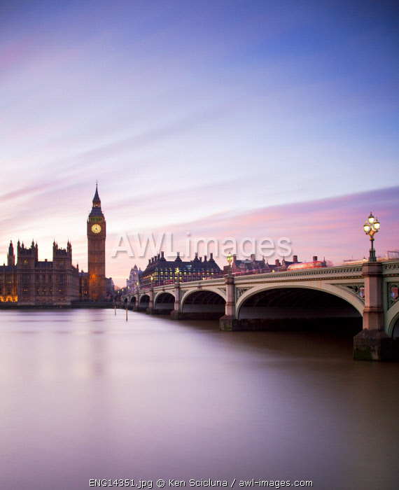 United Kingdom. England. London. Across the River Thames with the Big Ben and Parliament.
