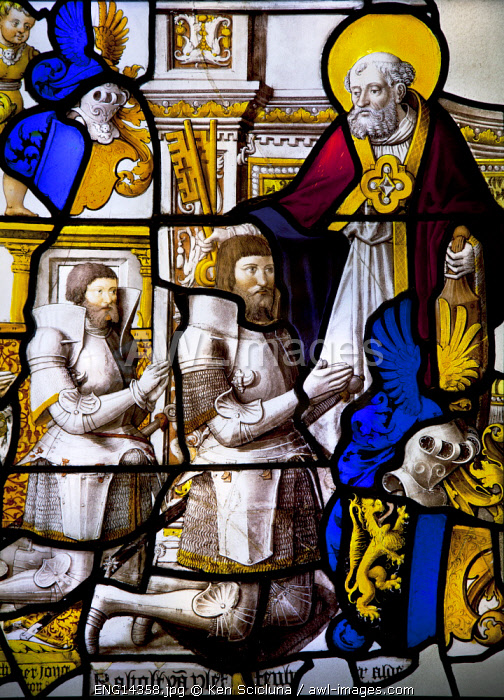 United Kingdom. England. London. Stained glass on dislay at the Victoria and Albert Museum.
