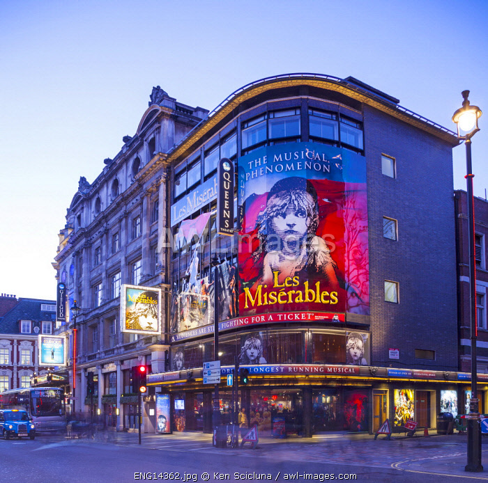 United Kingdom. England. London. The Queen s Theatre running the legendary musical Les Miserables at the West End.