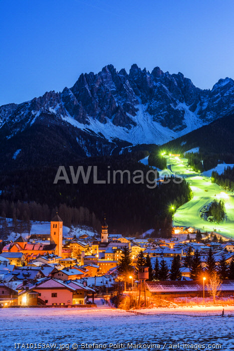 Winter view at dusk over Innichen - San Candido, Alto Adige - South Tyrol, Italy