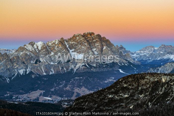 Sunset view over Cristallo mountain in the Dolomites, Veneto, Italy