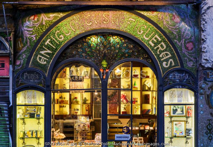 The historic Antigua Casa Figueras pastry shop, Barcelona, Catalonia, Spain