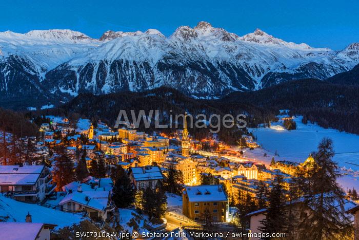 Winter view of St. Moritz, Graubunden, Switzerland