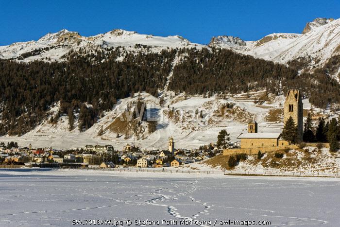 Winter view of Celerina, Graubunden, Switzerland