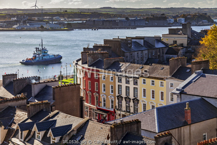 View overlooking Cobh Harbour and Pearse Square, Cobh, Co. Cork, Munster,Ireland.