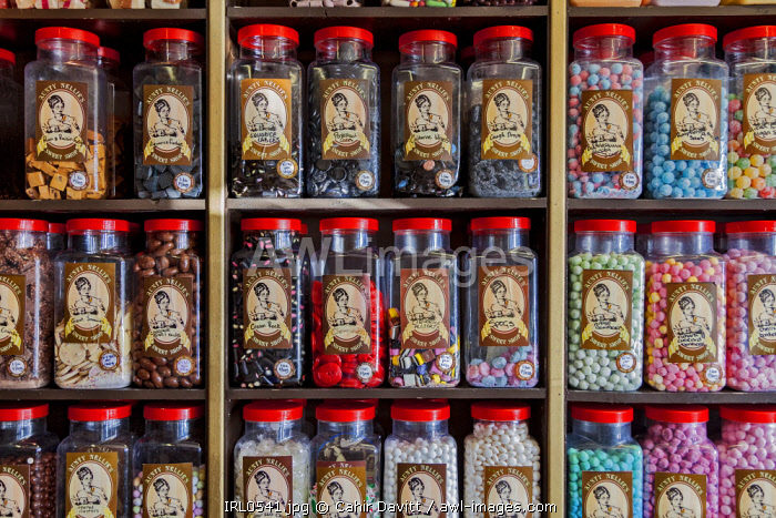 Traditional jars of sweets in a sweet shop, Cobh, Co. Cork Munster,Ireland.