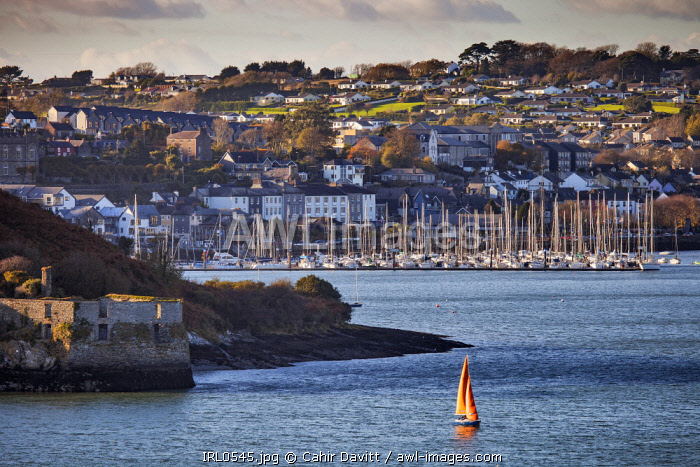 """The town and marina of Kinsale view from Charles Fort, with the The waterfront """"Block House"""" of the old James' Fort in the foreground, Kinsale, Co. Cork, Munster,Ireland."""