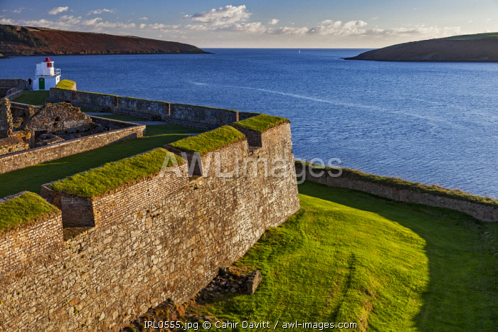 The Lighthouse (by Robert Reading), Soldiers' Quarters and the seaward bastions of the 17th Century Charles Fort, looking toward the Celtic Sea, Kinsale, Co. Cork, Munster, Ireland.