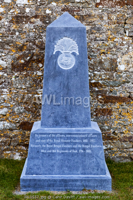 Memorial to the Royal Munster Fusiliers in the 17th Century Charles Fort, Kinsale, Co. Cork, Munster, Ireland.