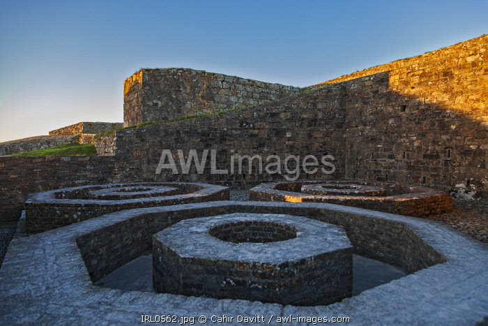 Octagonal foundation pads for water storage vessels in Charles Fort, Kinsale, Co. Cork, Munster, Ireland.