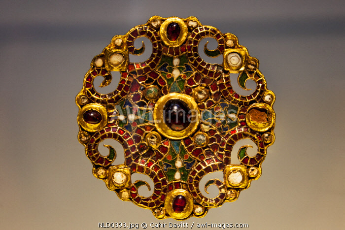 The Dorestad Brooch (9th Century AD), part of the permanent collection in the Rijksmuseum, Arsenaal, Leiden, Zuid Holland, Netherlands.