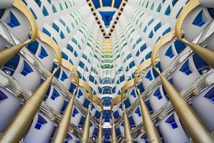 View from below looking up towards the bedroom surrounding the bedrooms of the luxury 7 Star Burj Al Arab Hotel designed by the architects Atkins, Um Suqaim Second, Dubai, Dubayy, United Arab Emirates.