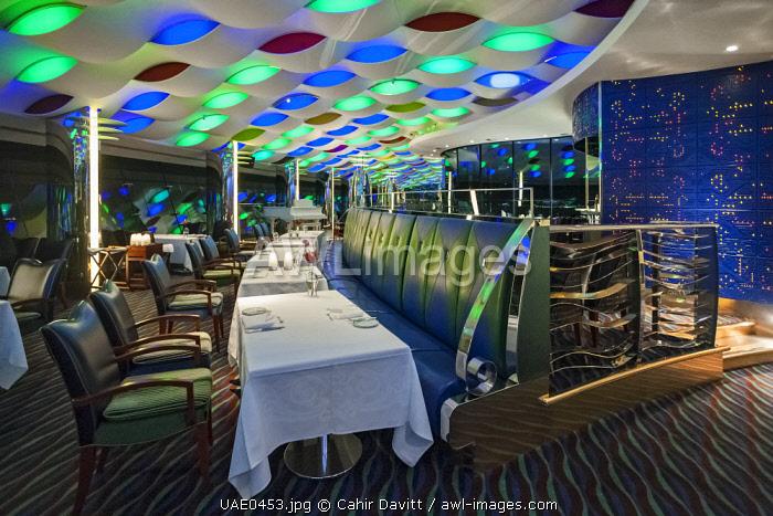 Interior of the restaurant of the Al Muntaha Restaurant and Sky View Bar in the luxury 7 Star Burj Al Arab Hotel designed by the architects Atkins, Um Suqaim Second, Dubai, Dubayy, United Arab Emirates.