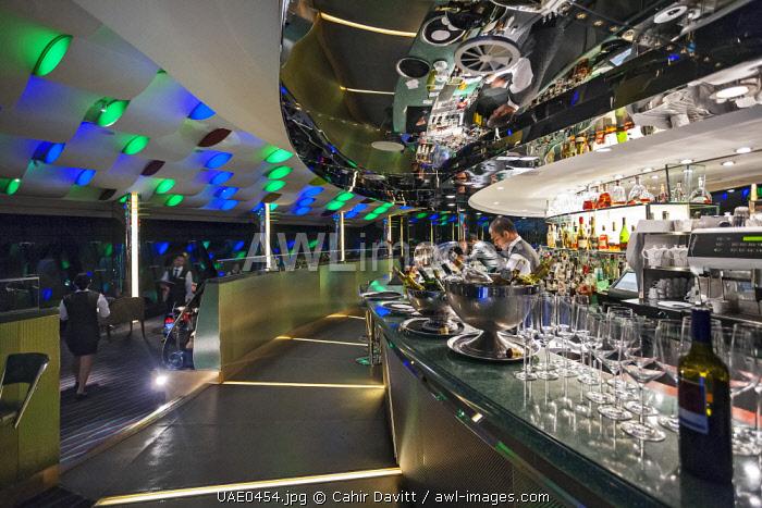 Interior of the bar and restaurant of the Al Muntaha Restaurant and the Sky View bar in the luxury 7 Star Burj Al Arab Hotel designed by the architects Atkins, Um Suqaim Second, Dubai, Dubayy, United Arab Emirates.