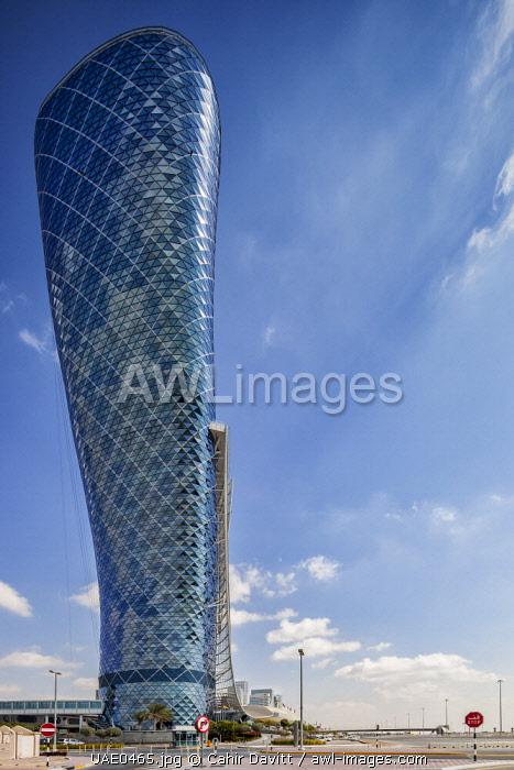 Exterior of the Capital Gate Hotel, designed by the architects RMJM Dubai located in Al Safarat, Abu Dhabi, United Arab Emirates.