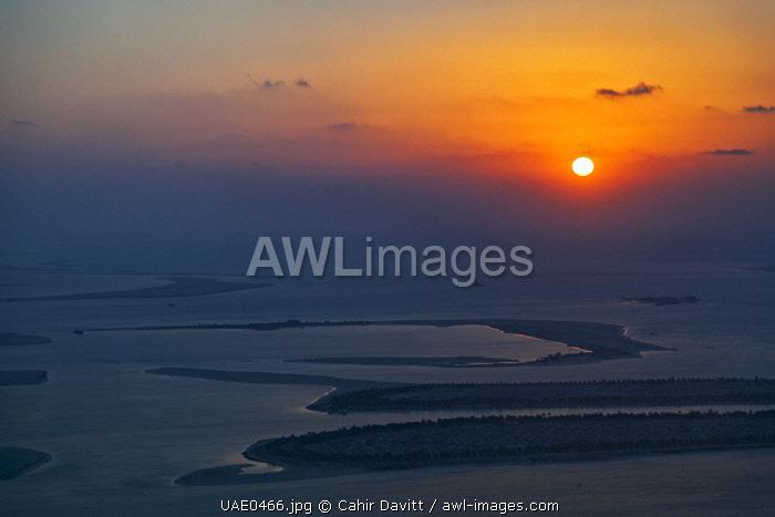 Sunset over Massnoua Island in the Al Ras Al Akhdar district of Abu Dhabi, United Emirates