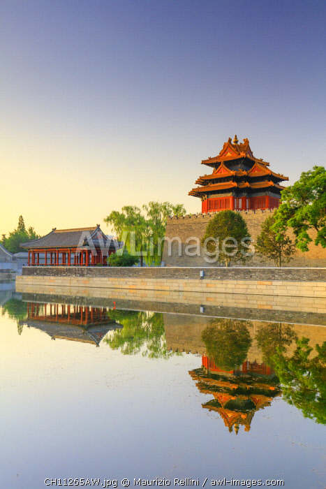 China, Beijing, Palace moat and Forbidden city at sunrise
