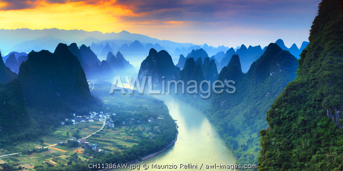 China, Guangxi province, Xingping village along River Li