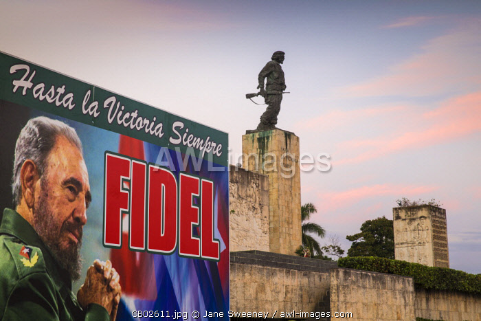Cuba, Santa Clara, Plaza de la Revolucion, Monumento Ernesto Che Guevara, Memorial sign to Fidel Castro after his death in 2016